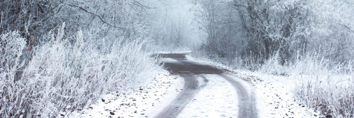 Roadway with snow around