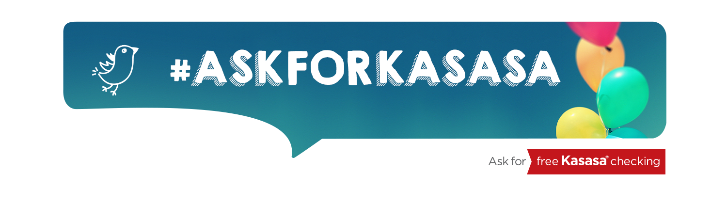Ask for Kasasa banner with ribbons