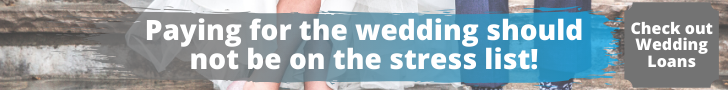 """A man and a woman sitting in their wedding outfits with the caption saying """"paying of the wedding should not be on the stress list"""" with a box that says check out wedding loans."""